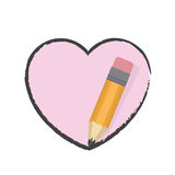 Pencil Drawing Heart Royalty Free Stock Photography