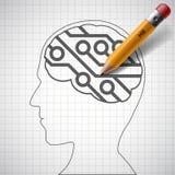 Pencil drawing in human head a electronic circuit.  Stock Photo