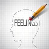 Pencil drawing in human head the word feeling. Stock  illu Stock Photography