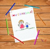 Pencil drawing illustration of grandmother and grandson together holding hands. Children colorful pencil drawing illustration of grandmother and grandson stock illustration