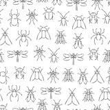 Pencil drawing insects seamless pattern. Wild nature seamless texture. Pencil drawing insects seamless background pattern. Wild nature seamless texture. Vector Royalty Free Stock Photo