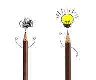 Pencil drawing light bulb, idea concept. Stock Photos