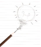 Pencil drawing light bulb  on white Royalty Free Stock Photos