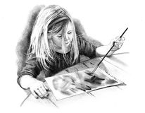 Pencil Drawing of Little Artist Girl. A pencil drawing of a little girl making a painting Stock Photos