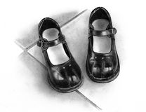 Pencil Drawing of Little Black Shoes. A pencil drawing of a pair of small, girl's shoes Royalty Free Stock Images