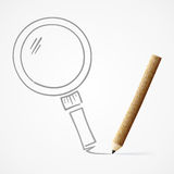 Pencil drawing Magnifying glass Stock Image