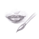 Pencil drawing of makeup lips Stock Images