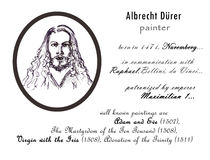 Albrecht durer biography sketch. Masters collection. great painters portrait. historical characters. hand drawn artistic illustration, handmade painting. pencil Stock Photos