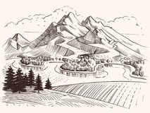 Pencil drawing mountain landscape. Cartoon sketch mountains and fir trees vector illustration. Landscape sketch mountain, tree and peak hill Stock Image