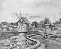 Pencil Drawing of Nesebar Old Windmill Stock Photography