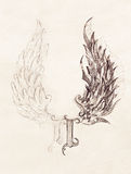 Pencil drawing on old paper. angel wings and rome number, God and Devil wings. Royalty Free Stock Photos