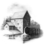 Pencil Drawing of Old Stone Mill. A pencil drawing of an old stone grist mill Stock Photos