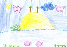 Pencil drawing paint by a child royalty free stock photo