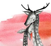 Pencil drawing of a pair of deer on a watercolor background. Isolated illustration. Pencil drawing deers mom and baby on a watercolor background Royalty Free Stock Image