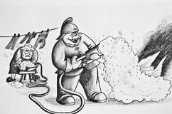 Fireman extinguishing fire. Pencil drawing on paper.A woman creates a foam for firefighter. Cartoon Stock Photos