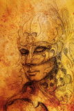 Pencil drawing on paper, woman in ornamental venetian mask. Royalty Free Stock Images
