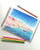 Pencil drawing and pencils, city landscape by pencils Royalty Free Stock Image