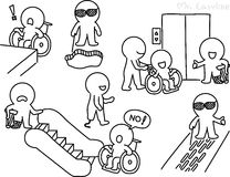 Pencil drawing - People with disabilities stock illustration