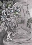 Pencil drawing with pierrot flowers and castle. In the background Royalty Free Stock Images