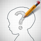 Pencil drawing a question mark in the child head. Stock  i Royalty Free Stock Image