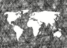 Pencil drawing sketch world map Vector illustration Royalty Free Stock Images