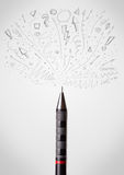 Pencil drawing sketchy arrows. And lines Royalty Free Stock Photography