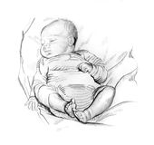 Pencil drawing of sleeping baby Stock Images