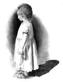 Pencil Drawing of Small Girl. A pencil drawing of a little girl standing outside in the sunshine Stock Photo