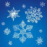 Pencil drawing snowflake sketch. Set of fun cute eve natal simple icy asterisk blue sky card template for wrapping nativity design. Freehand outline ink hand Stock Photography