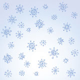 Pencil drawing snowflake sketch. Set of fun cute eve natal simple icy asterisk blue sky card template for wrapping nativity design. Freehand outline ink hand Royalty Free Stock Photography