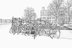 Pencil drawing from snowy Amsterdam in Netherlands Royalty Free Stock Images