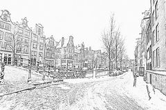 Pencil drawing from snowy Amsterdam in Netherlands Stock Photography