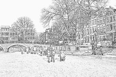 Pencil drawing from snowy Amsterdam in Netherlands Royalty Free Stock Photos