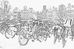 Pencil drawing from snowy bikes in Amsterdam Netherlands Royalty Free Stock Image