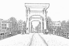 Pencil drawing from snowy Thiny bridge in Amsterdam Netherlands royalty free stock images