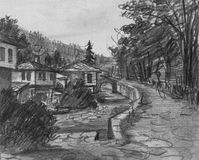 Pencil Drawing of Traditional Old Bulgarian Houses Stock Image