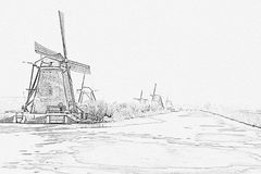 Pencil drawing from traditonal windmills in the Netherlands royalty free stock photography