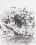 Pencil drawing of a village Royalty Free Stock Photo
