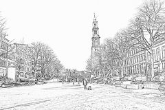 Pencil drawing from winter in Amsterdam the Netherlands Stock Image