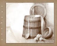 Pencil drawing of wood bucket Royalty Free Stock Image