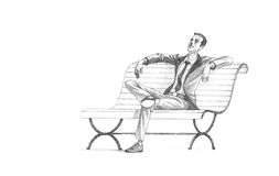 Pencil Drawing of Young Entrepreneur taking a relaxing break on Royalty Free Stock Photography
