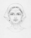 Pencil drawing of young woman, scan Stock Photo