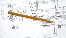 Pencil on drawings Royalty Free Stock Photography