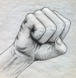 Pencil drawn clinched fist Stock Photography