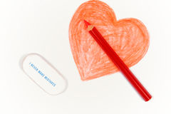 Pencil Drawn Happy Valentines Day Heart Stock Photos