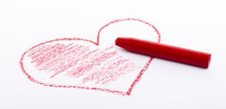 Pencil drawn heart with red color Stock Photos