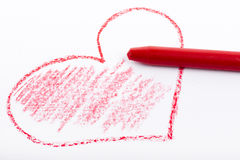 Pencil drawn heart with red color Stock Images