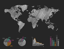 Pencil drawn world map with graphs. Stock Photo
