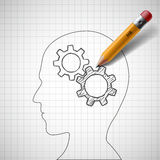 Pencil draws gears in human head. Stock . Royalty Free Stock Photos