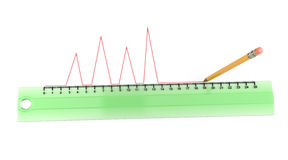 Pencil draws a red curve line along the ruler Royalty Free Stock Photos
